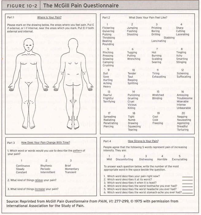 short form mcgill pain questionnaire scoring instructions