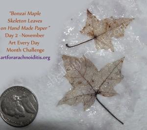 Hand made paper & skeleton leaf collage