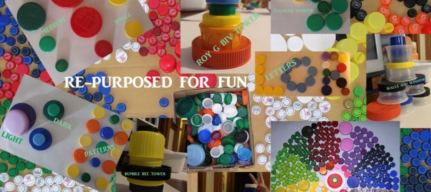 digital collage of creative learning with plastic bottle caps