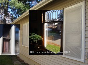 photo of plastic wrapped windows